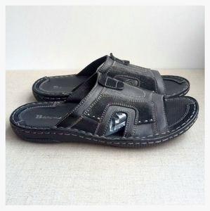 BROWNS Men EU 41 Black Leather Slides